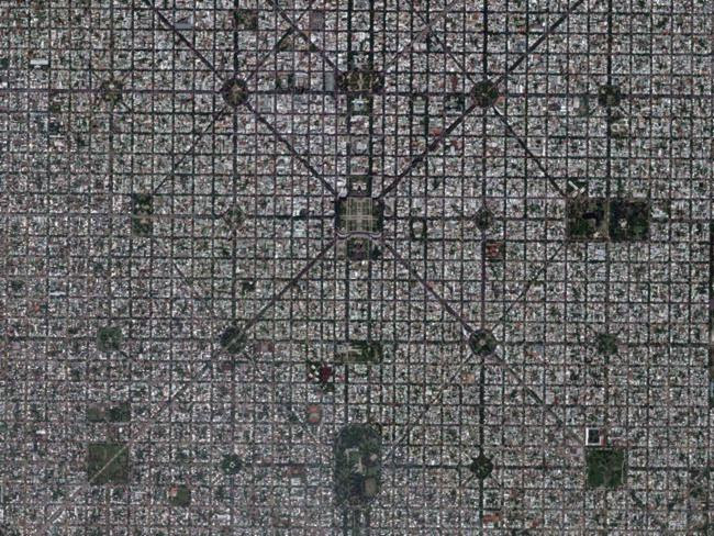 Diamond shapes of the city of La Plata in Buenos Aires, Argentina.