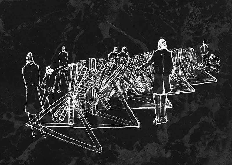 An artist's impression of Guatemala's pavilion. It is a sketch of people interacting with a sculptural work of angular 3D shapes.
