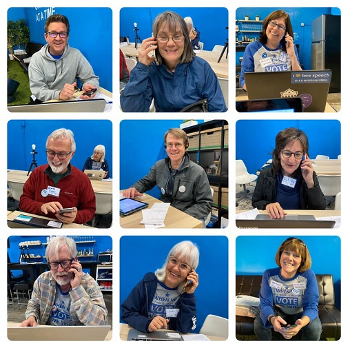 Montage of 9 different phonebankers in action at the Volunteer Center