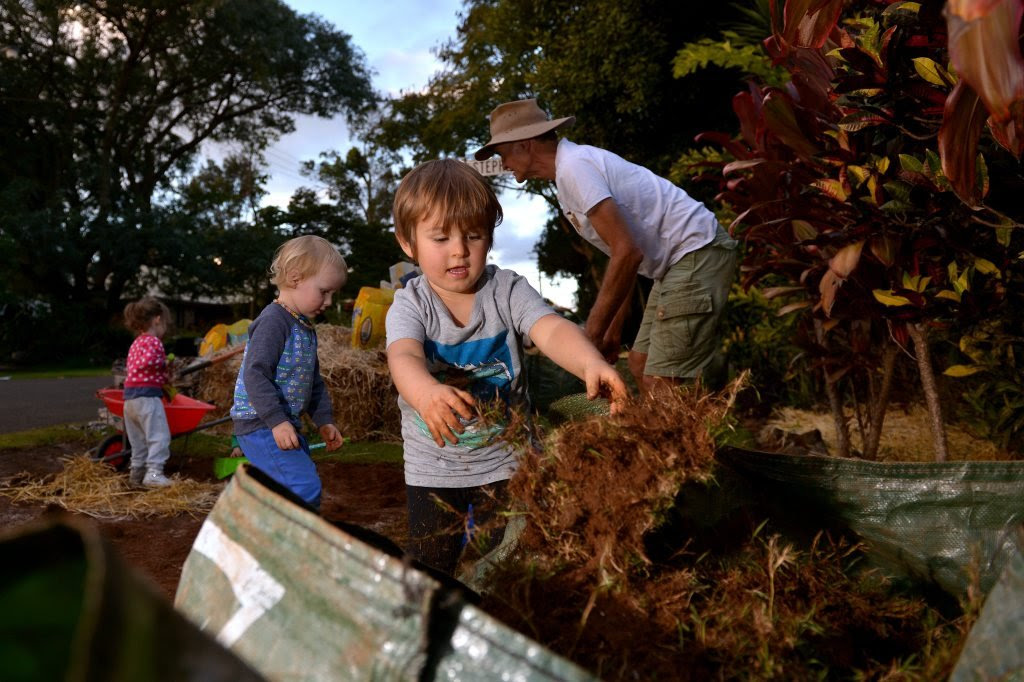 This is not just another community garden in Buderim. It's about education of children too. Isaac Kuylaars, 3. Photo: John McCutcheon / Sunshine Coast Daily