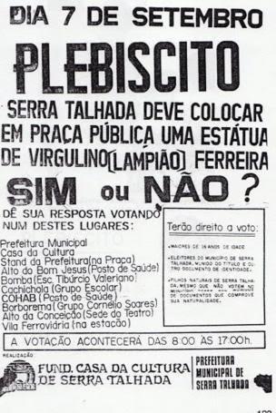 Panfleto sobre plebiscito em torno da estatua de Lampião