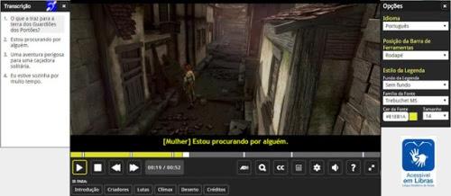 Tela do Facilitas Player com alguns recursos ao lado