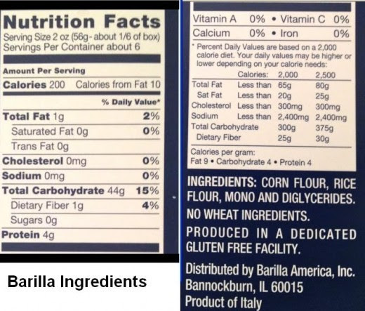 Barilla Gluten Free Pasta ingredients. Photo credit see link top of page.