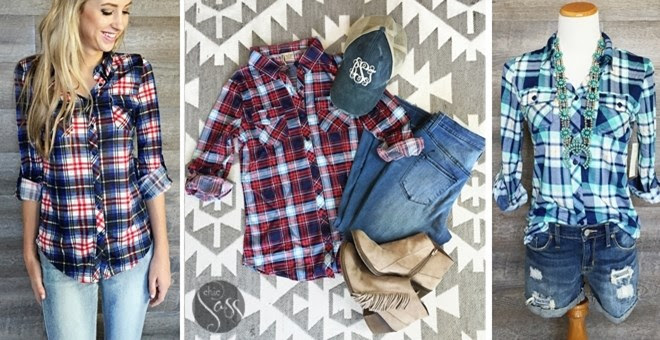 Fall Jersey Style Plaid Button...