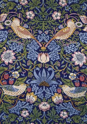 "William Morris, ""Strawberry Thief"" wallpaper design, 1883"