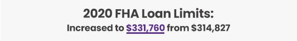 2020 FHA Loan Limits:  Increased to $331,760 from $314,827