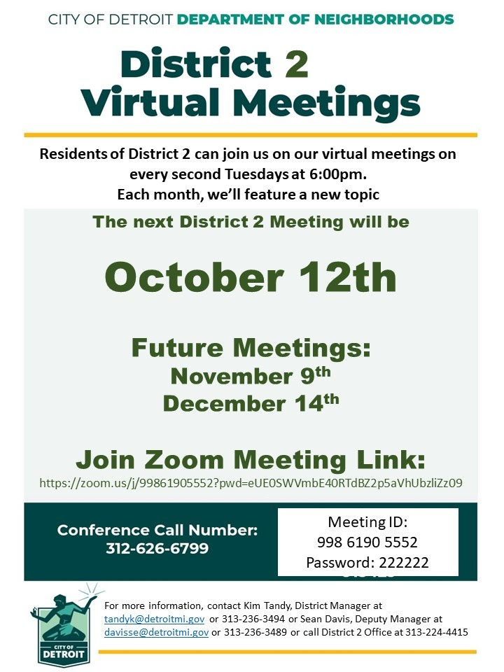 District 2 Virtual Meeting, Tuesday, October 12, 2021 @ 6:00 P.M.
