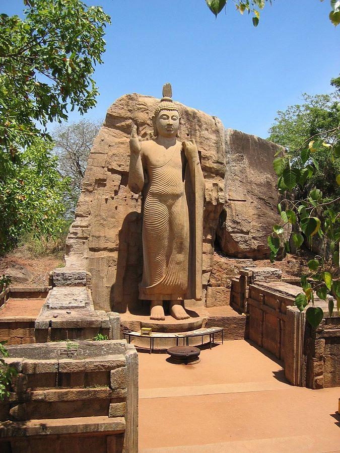 Fifth-century Aukana statue of Buddha in north central Sri Lanka. (Wikipedia)