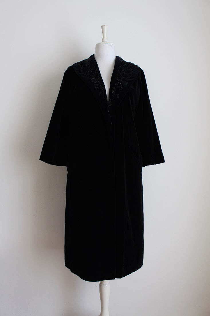 VINTAGE VELVET BLACK BEADED COAT - SIZE 16