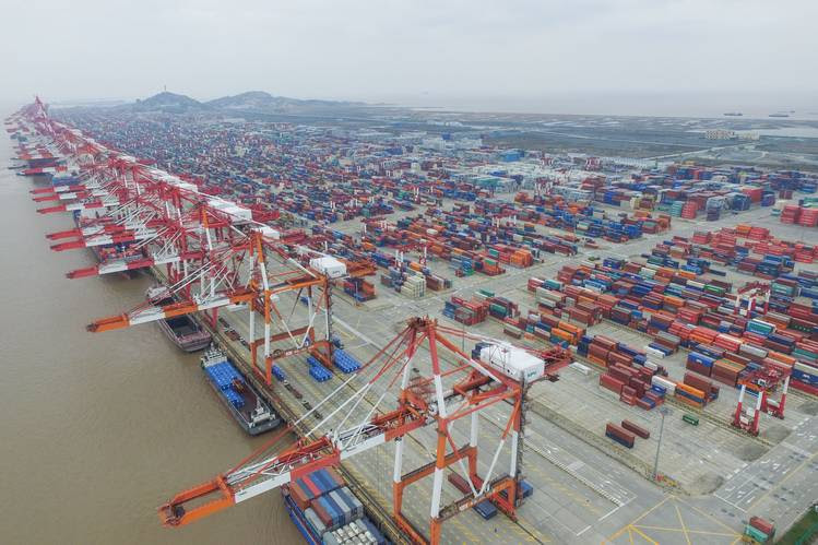 Cranes at the Yangshan Port Container Terminal in Shanghai late last year.