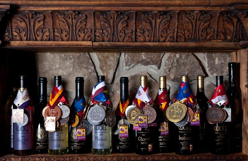 Bottles with medals