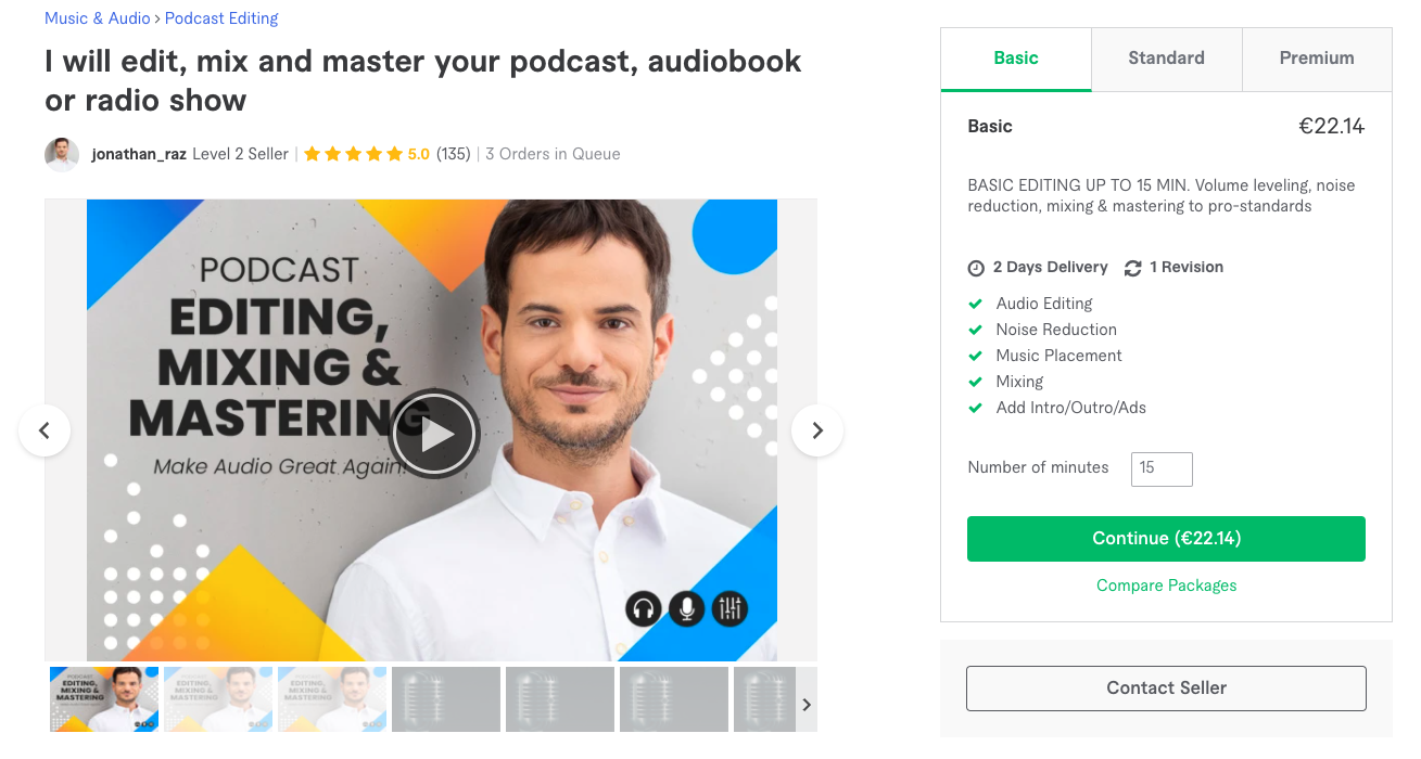 Fiverr - Podcast edit hizmeti