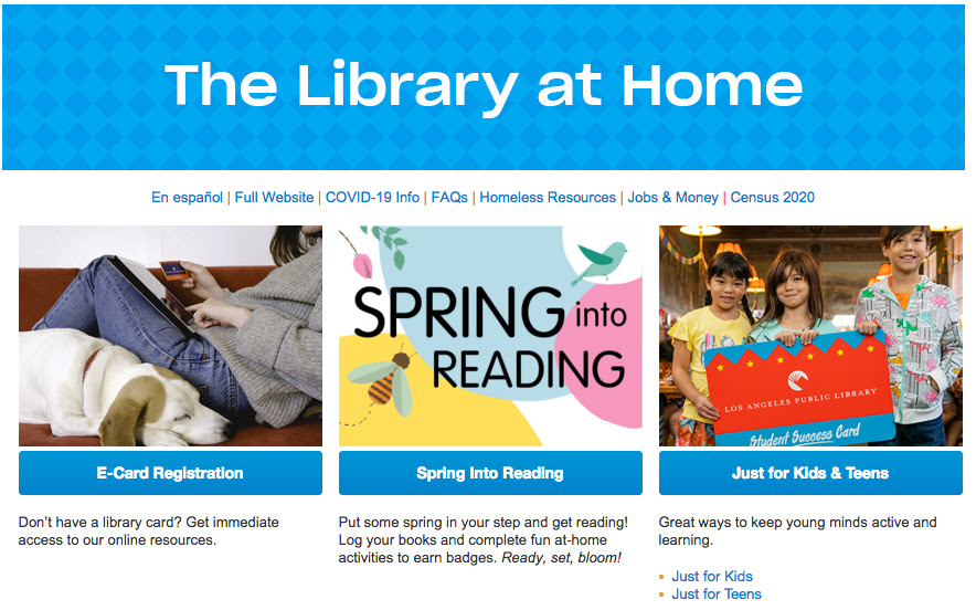 Library at Home Landing page