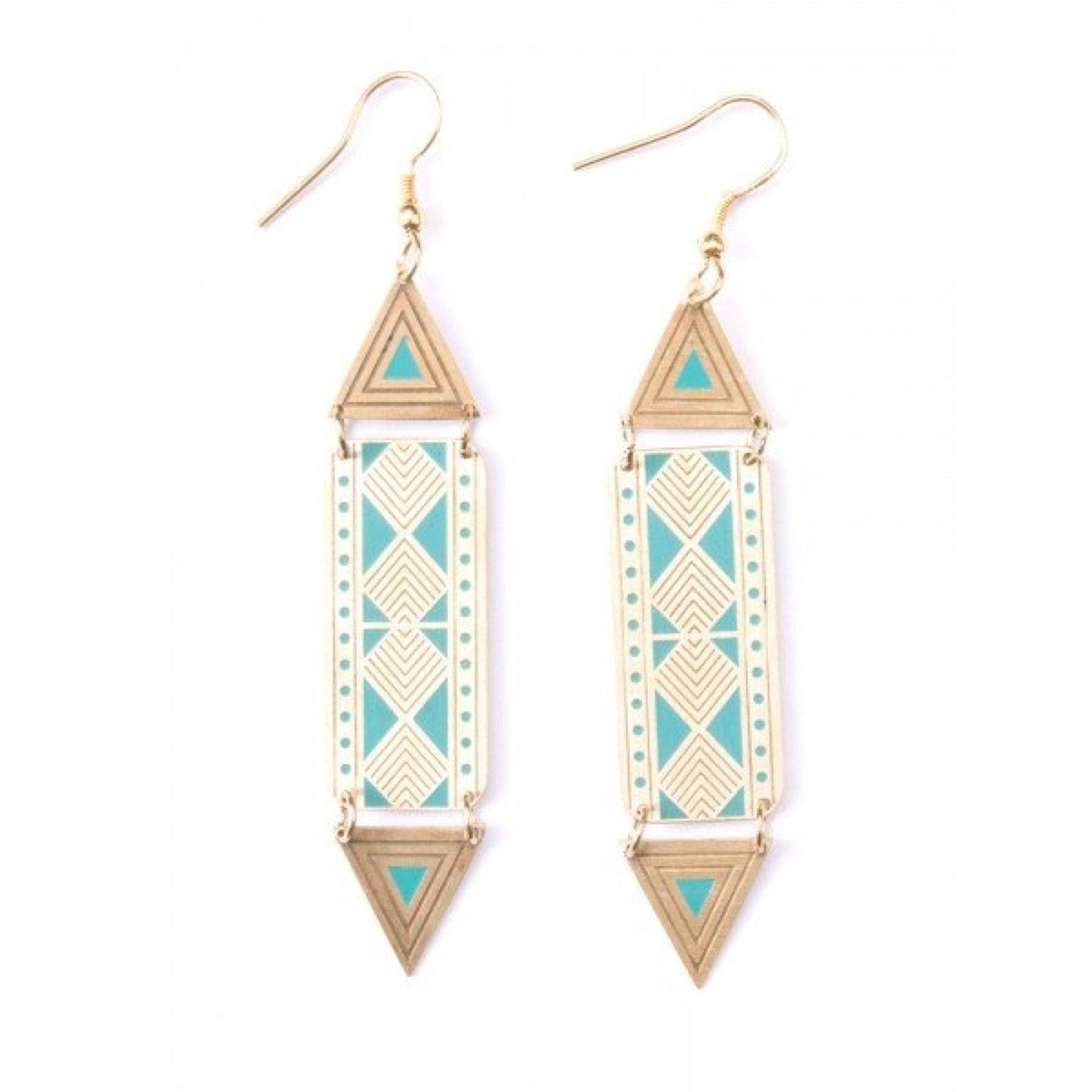 Art Deco Triangle Earrings