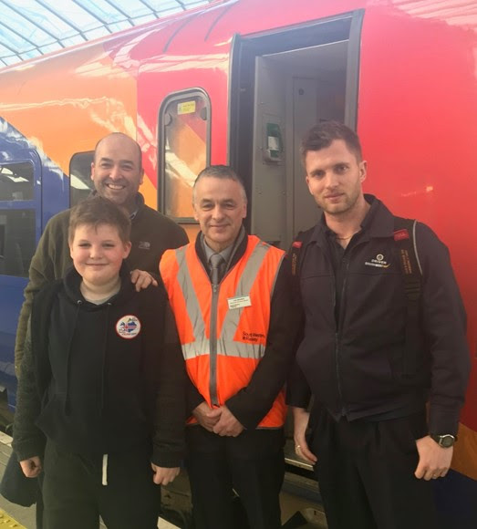 Schoolboy's dream of riding in SWR train cab comes true