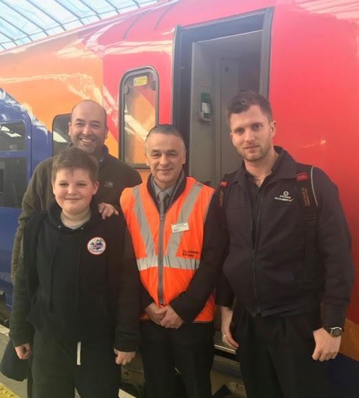 Schoolboy's dream of riding in SWR train cab comes true