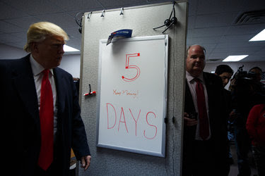 Mr. Trump visited his campaign headquarters Thursday in Manchester, N.H.