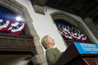 Hillary Clinton speaking on Monday at Temple University in Philadelphia.