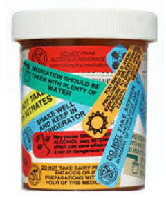 Pill bottle with mulitable warning lables
