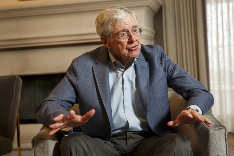 Charles Koch speaks during an interview on the sidelines of the 2015 Koch network seminar. (Patrick T. Fallon For The Washington Post)</p>
