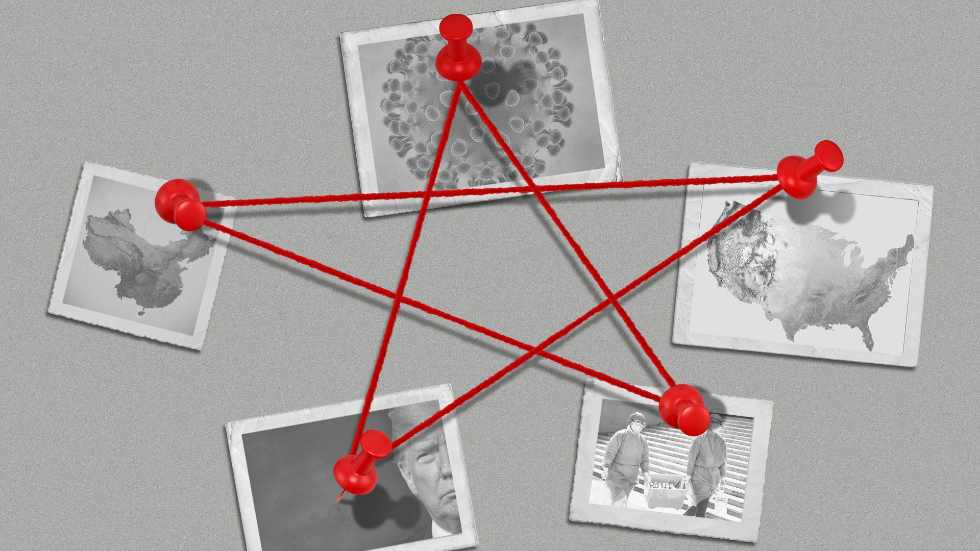 Illustration of photos including a virus, a map of the U.S. and China, President Trump, and healthcare workers in Wuhan, tacked with string in the shape of a star