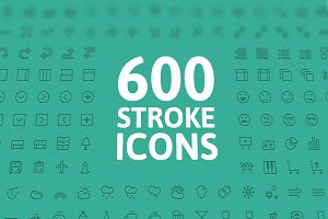 600 Stroke Vector Icons