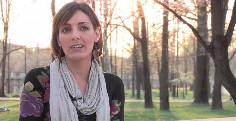 Lola Sánchez, en uno de sus vídeos como candidata a las elecciones europeas. PODEMOS