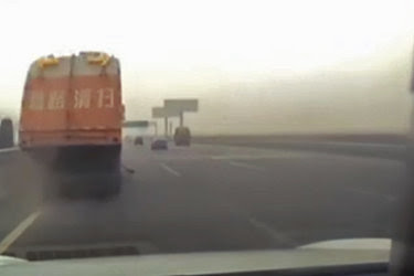 A still from a video broadcast by the Chinese government news channel CCTV that depicts a fatal crash that may have occurred while Tesla's automated driver-assist system was in use.