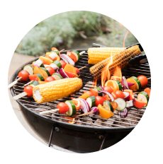 healthy party option - grilled corn and skewed veggies