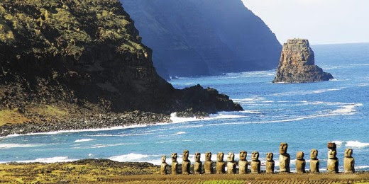 Typical view of Easter Island with group of Moai in the foreground