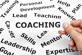 Word scramble with coaching at the center, also including training, personal development, help, plan, knowledge, lead, career, skills, leadership, goal, mentor, expertise