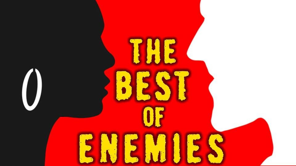 The Best of Enemies show art (black silhouette of a woman facing down a white silhouette of a man on a red background