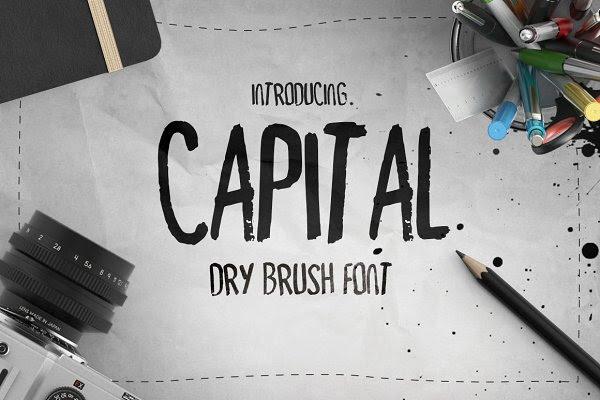 Capital Dry Brush Font