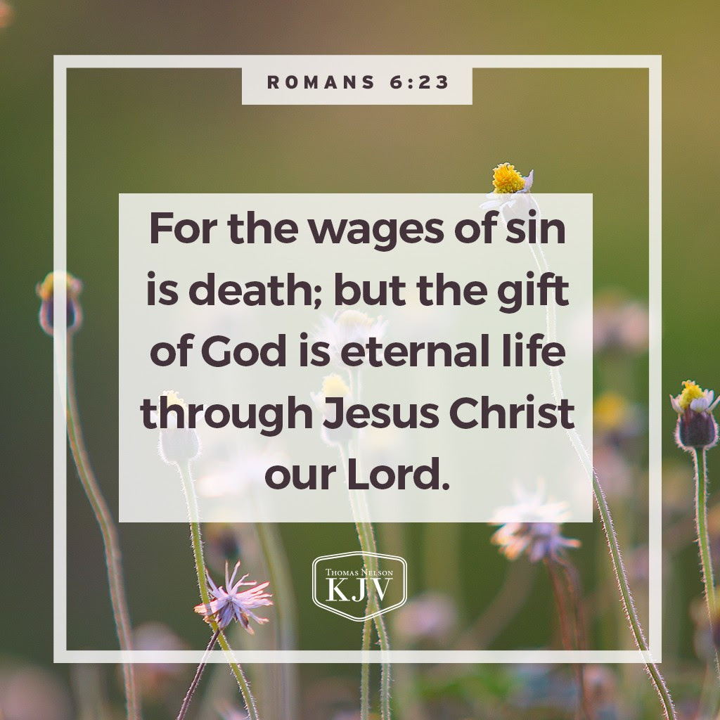 23 For the wages of sin is death; but the gift of God is eternal life through Jesus Christ our Lord. Romans 6:23