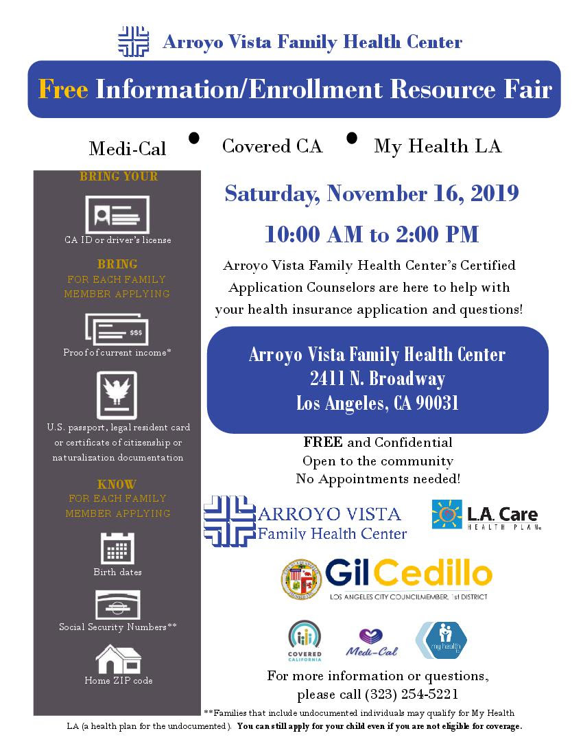 Arroyo Vista Resource Fair ENGLISH 11-16-19