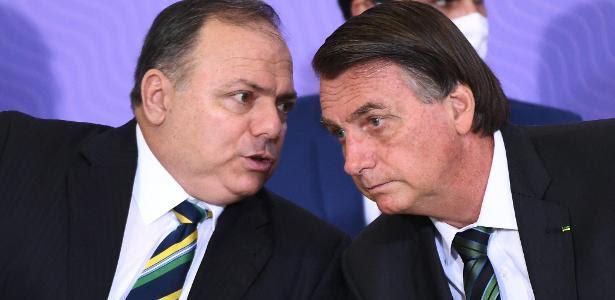 O ex-ministro da Saúde Eduardo Pazuello e o presidente Jair Bolsonaro