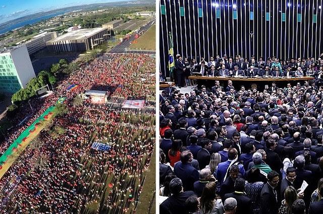 Protesto contra o golpe em frente ao Congresso Nacional; Votação na Câmara dos Deputados - Créditos: Agência Brasil/Agência Câmara