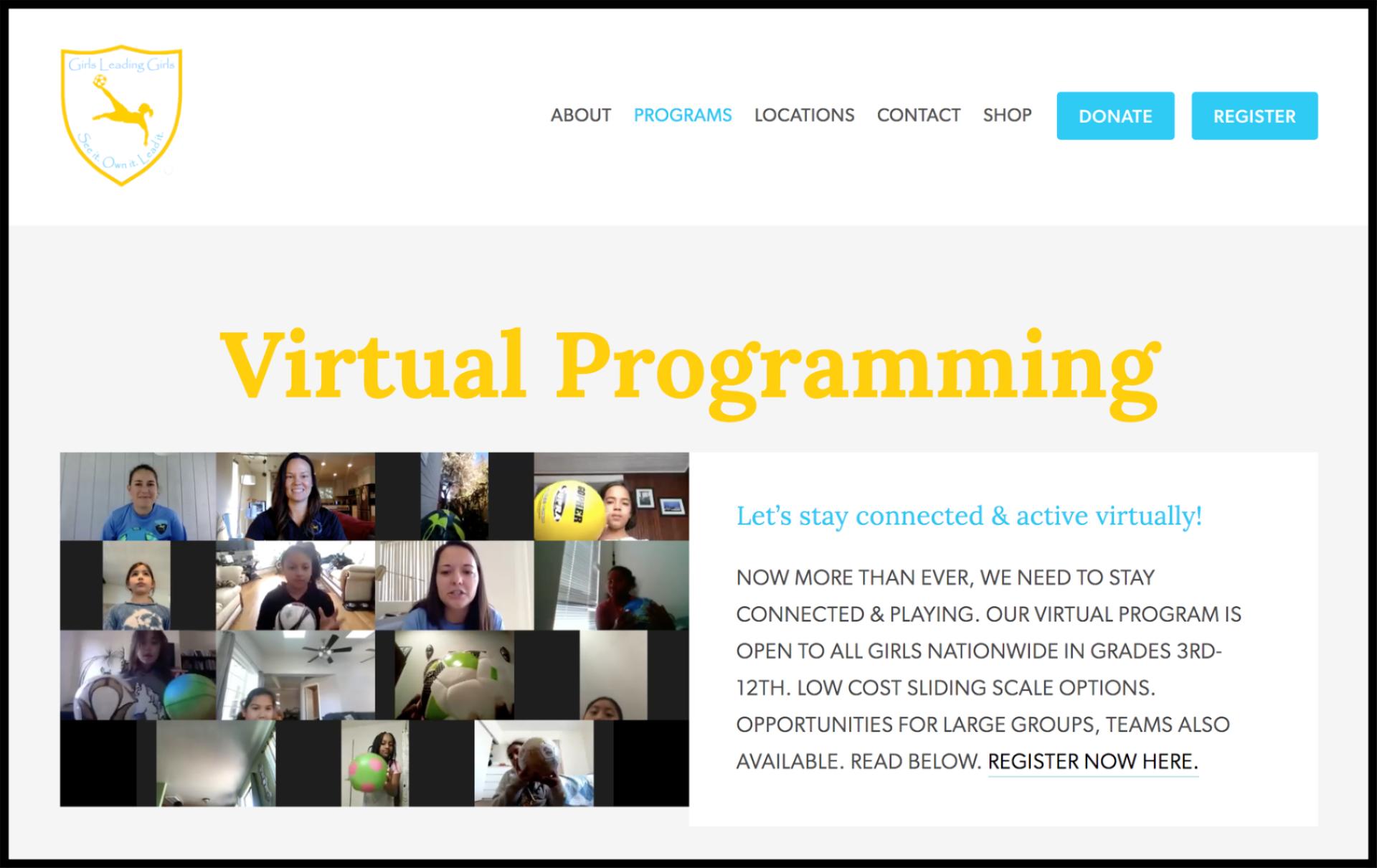Girls Leading Girls virtual programming