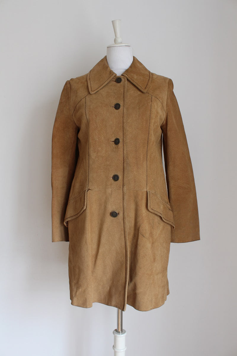 VINTAGE GENUINE SUEDE LEATHER TAN COAT - SIZE 10