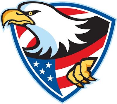 Ilustración de un águila calva americana American estrellas rayas de la bandera situada en el interior escudo sobre fondo blanco. Foto de archivo - 20996252