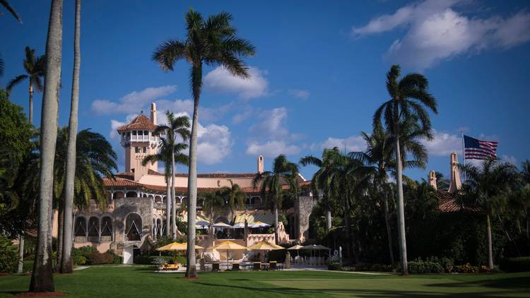 Mar-a-Lago is seen before President Trump walks out to his motorcade in Palm Beach, Fla. (Jabin Botsford/The Washington Post)