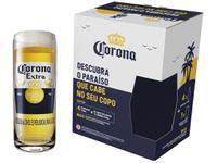Kit Cerveja Corona Lager 4 Unidades 330ml com Copo