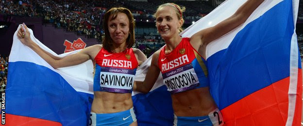 Mariya Savinova and Olga Poistogova