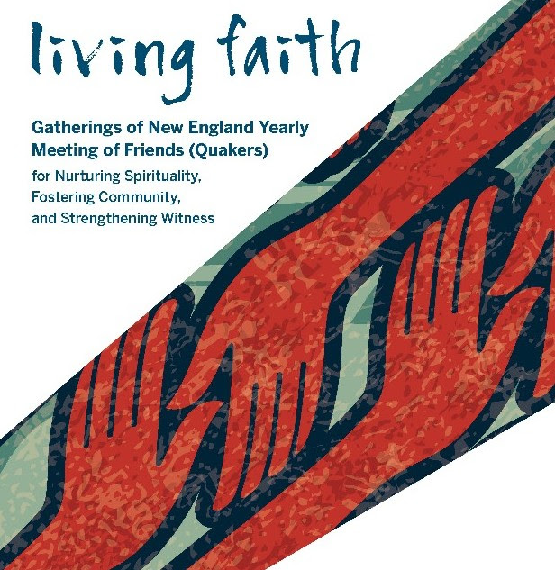 image of joined hands and poster for living faith event
