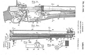 Garand's 1930 patent for his version of the long stroke system with piston located below the barrel