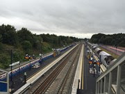 Aerial view of Bromsgrove station looking south