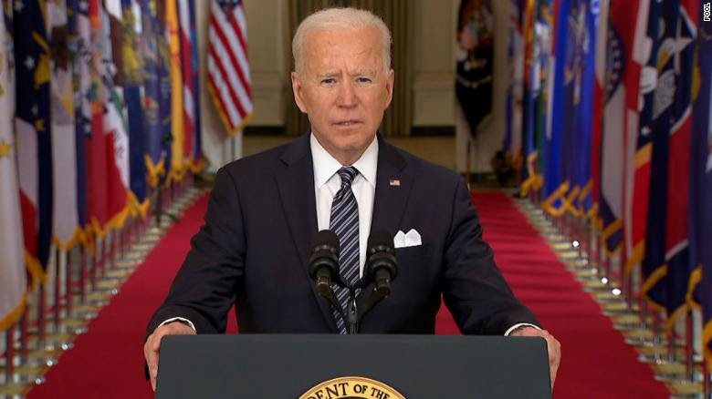 Joe Biden speaking from the White House