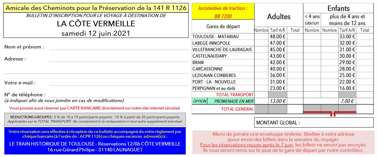 Bulletin d'inscription LA CÔTE VERMEILLE  - 12 juin 2021