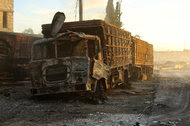 """The bombed trucks: """"Just when we think it cannot get any worse, the bar of depravity sinks lower."""""""