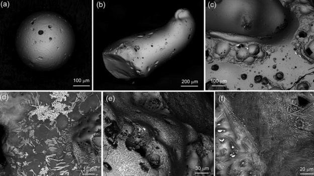 Partículas de Hiroshima observadas com microscópios eletrônicos